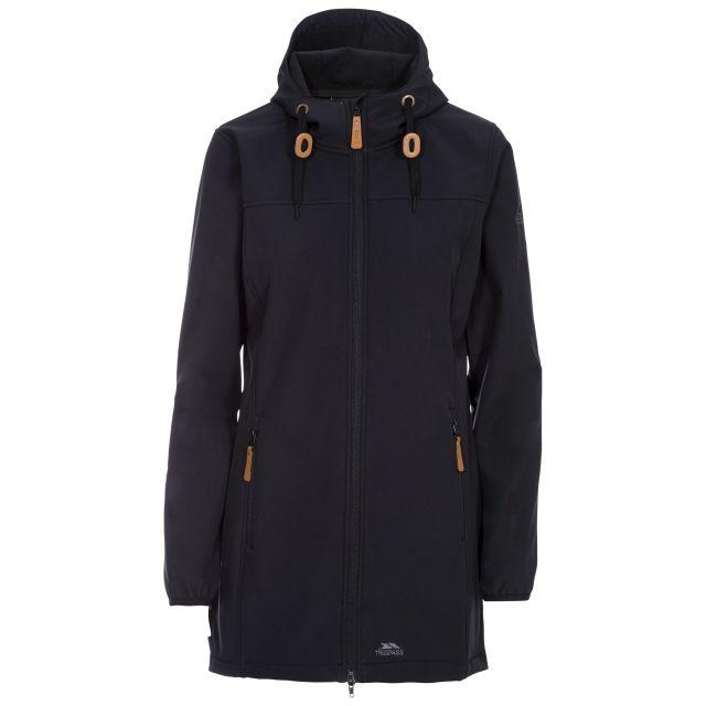 Kristy Women's Long Hooded Softshell Jacket in Black