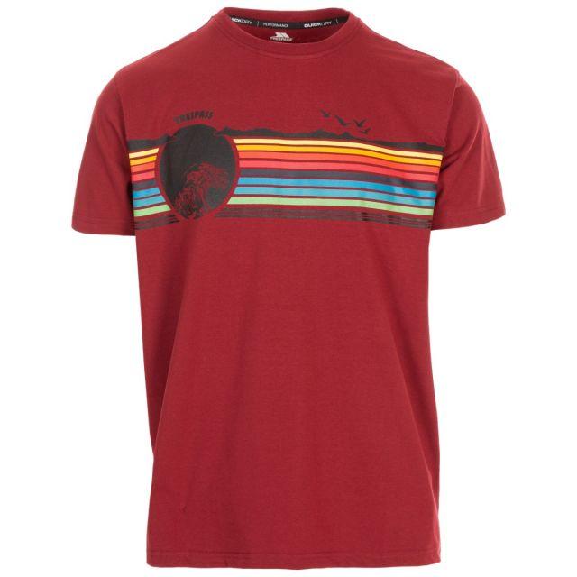 Trespass Men's Casual Short Sleeve Graphic T-Shirt Lakehouse Merlot, Front view on mannequin