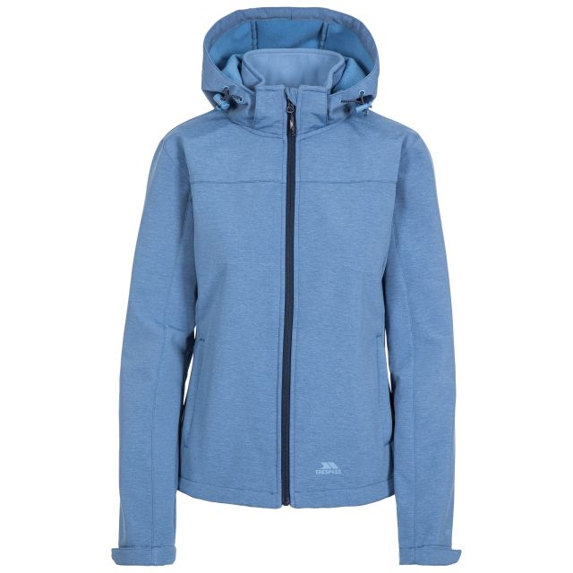 Trespass Womens Softshell Jacket Leah in Light Blue, Front view on mannequin