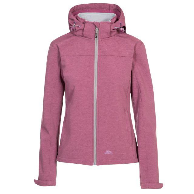 Trespass Womens Softshell Jacket Leah in Pink, Front view on mannequin