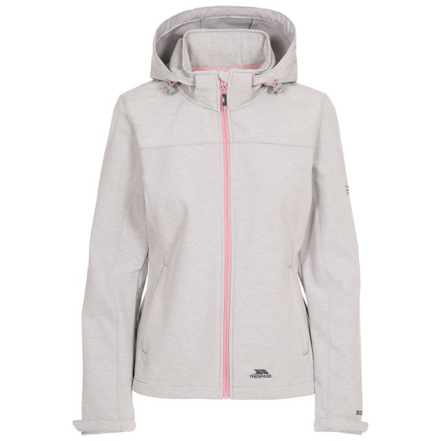 Trespass Womens Softshell Jacket Leah in Light Grey, Front view on mannequin