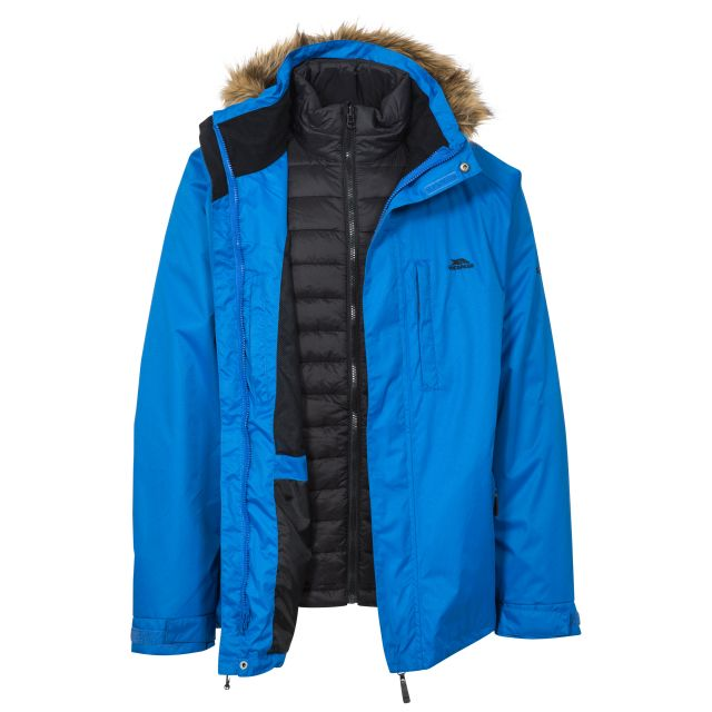 Leo Men's Insulated Waterproof 3-in-1 Jacket with Inner Padded Jacket in Blue