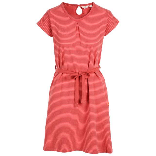 Trespass Womens Round Neck Cotton Dress Lidia Rhubarb Stripe, Front view on mannequin