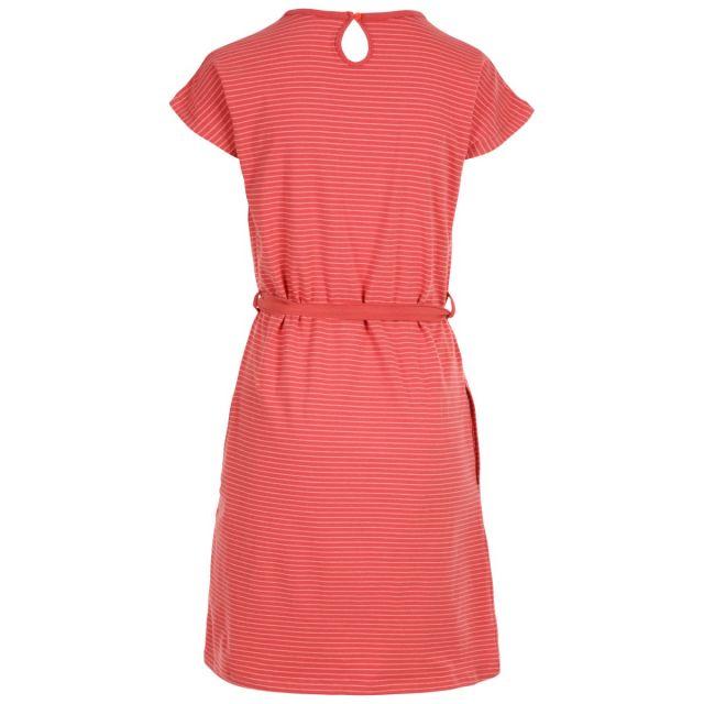 Trespass Womens Round Neck Cotton Dress Lidia Rhubarb Stripe