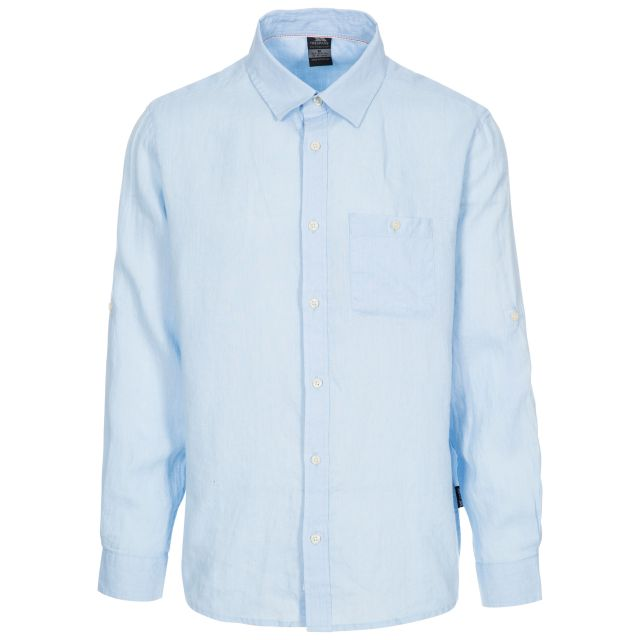 Linley Men's Linen Shirt in Light Blue