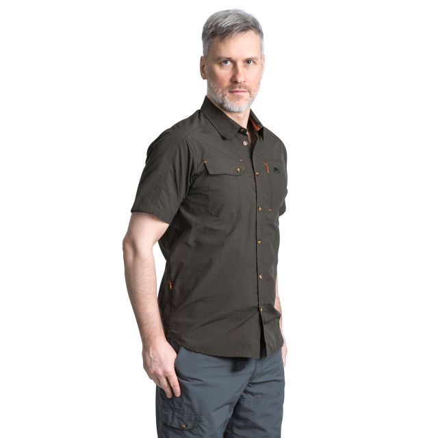 Lowrel Men's Mosquito Repellent Short Sleeve Shirt in Khaki