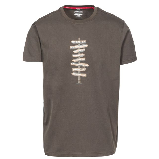 Mapping Men's Printed Casual T-Shirt in Khaki, Front view on mannequin