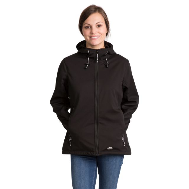 Marsa Women's Breathable Hooded Softshell Jacket in Black