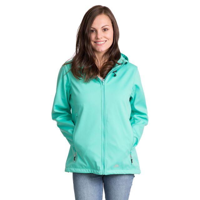 Trespass Womens Softshell Jacket Hooded Breathable Marsa in Light Blue