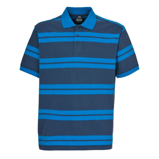 Atlantika Men's Striped Polo Shirt in Navy