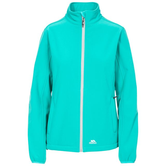 Trespass Womens Softshell Jacket Meena in Green, Front view on mannequin