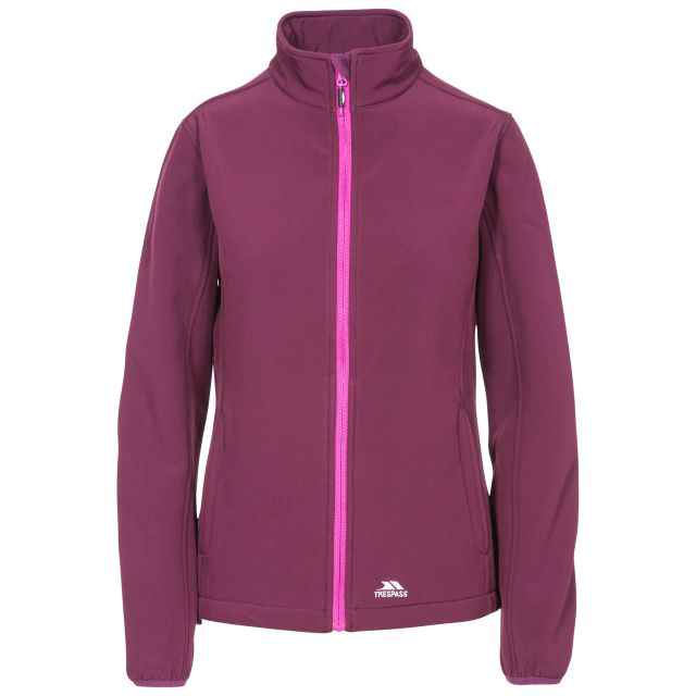Trespass Womens Softshell Jacket Meena in Purple, Front view on mannequin