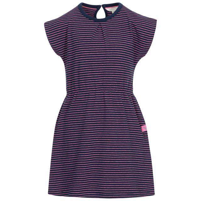 Trespass Kids Short Sleeved Dress Round Neck Mesmerised in Navy, Front view on mannequin