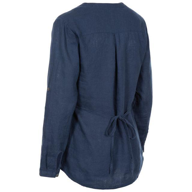 Messina Women's Long Sleeve Linen Blouse in Navy