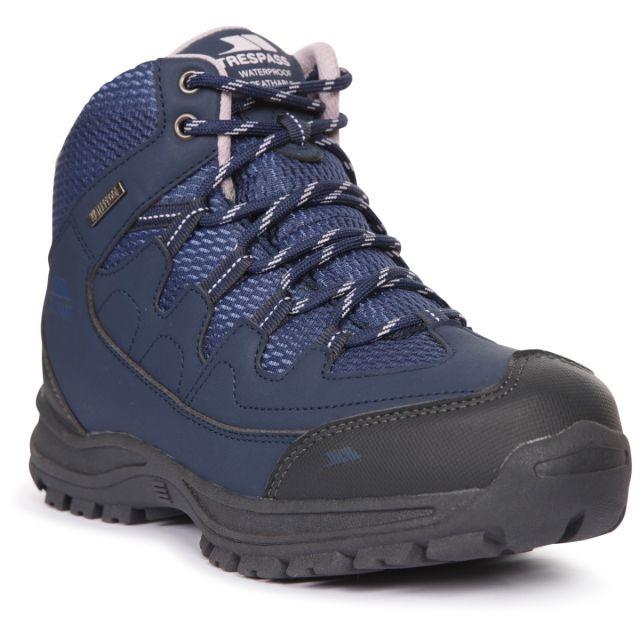Trespass Women's Waterproof Walking Boots Mitzi Navy, Angled view of footwear
