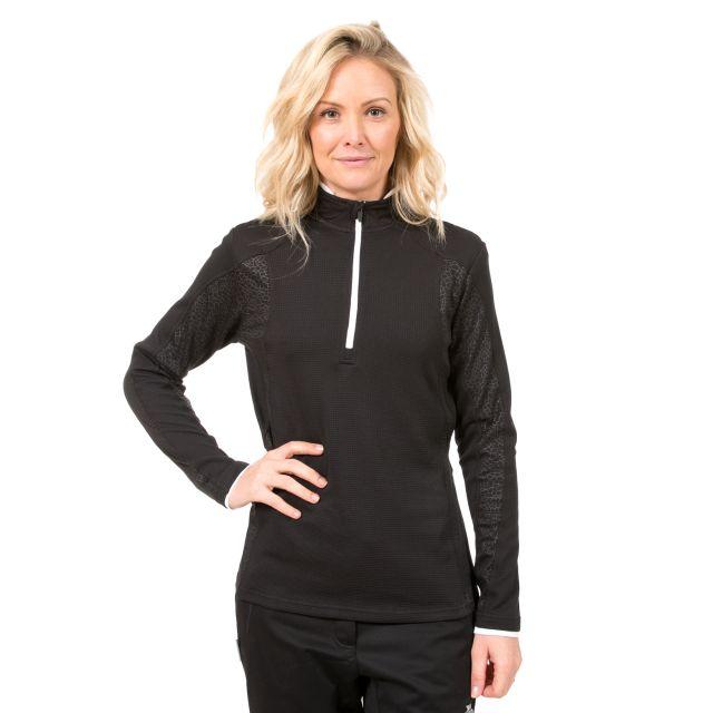 Ollog Women's 1/2 Zip Long Sleeve Active Top in Black