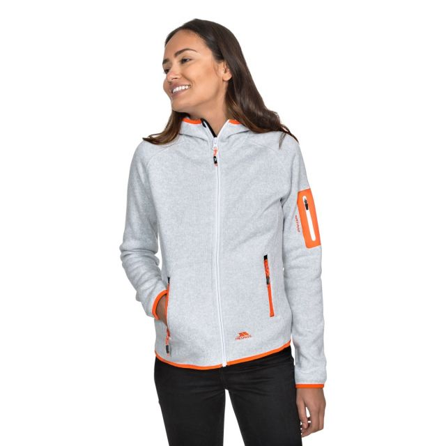 Mona Lisa Women's Full Zip Fleece Hoodie in Light Grey