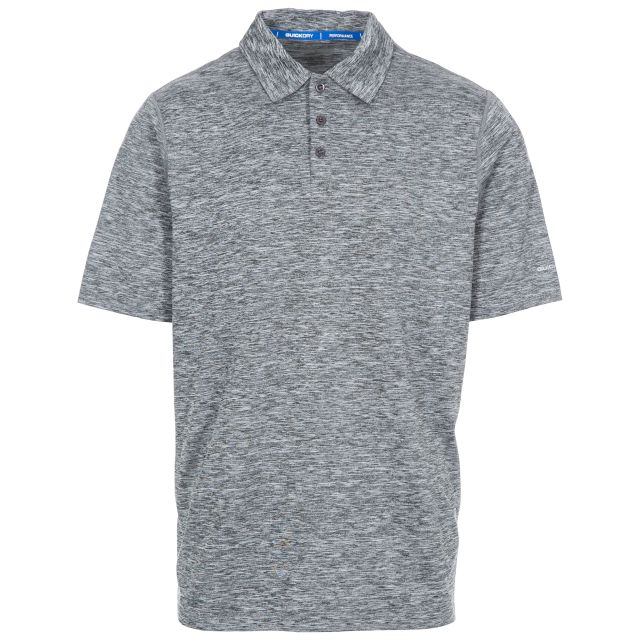 Monocle Men's Quick Dry Polo Shirt in Grey, Front view on mannequin