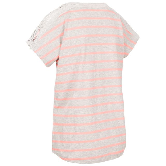 Trespass Women's Casual Short Sleeve Stripe T-Shirt Moor Grey Stripe