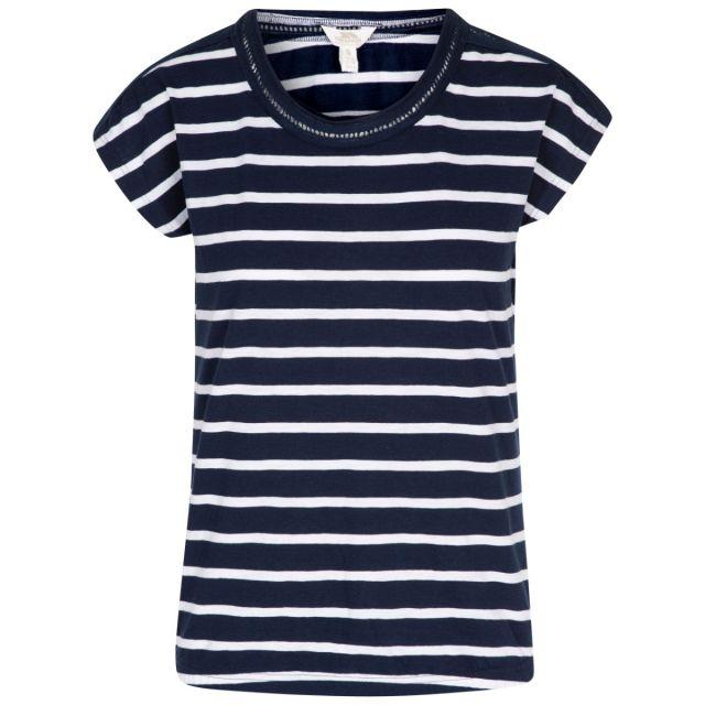 Trespass Women's Casual Short Sleeve Stripe T-Shirt Moor Navy White Stripe, Front view on mannequin