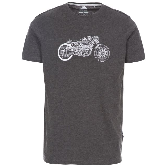 Motorbike Men's Printed Casual T-Shirt in Grey, Front view on mannequin