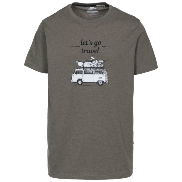 Motorway Men's Printed Casual T-Shirt in Khaki, Front view on mannequin