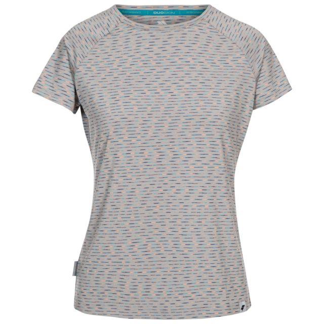 Trespass Women's Activewear Multi-Stripe T-Shirt Myrtle Multi Stripe, Front view on mannequin