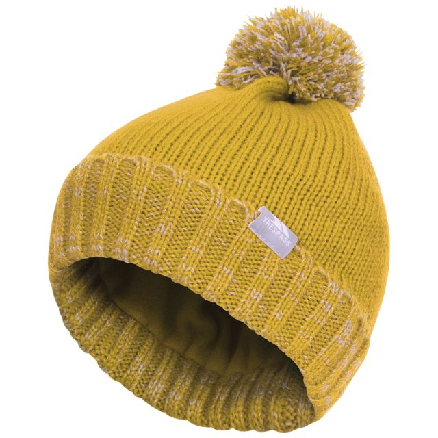 Trespass Kids Bobble Hat Knitted Fleece Lined Nefti Gold