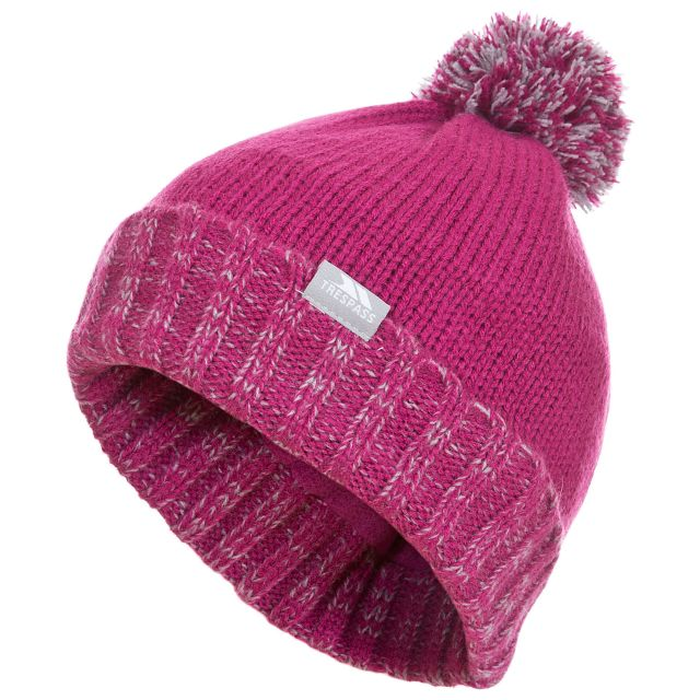 Trespass Kids Bobble Hat Knitted Fleece Lined Nefti Hot Pink
