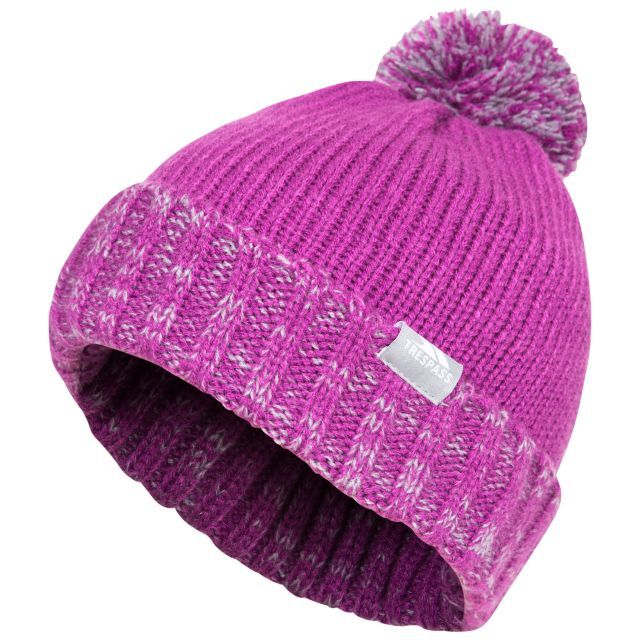 Trespass Kids Bobble Hat Knitted Fleece Lined Nefti Purple