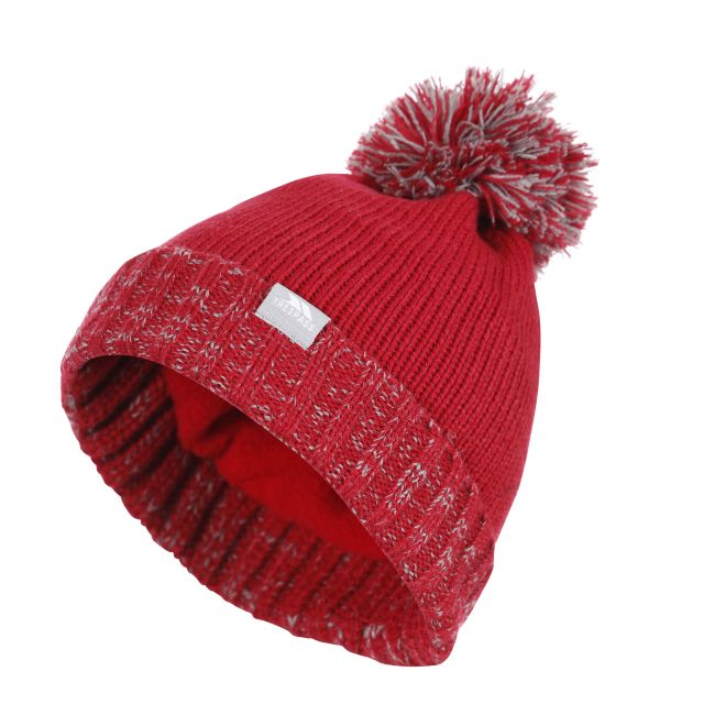 Trespass Kids Bobble Hat Knitted Fleece Lined Nefti Red