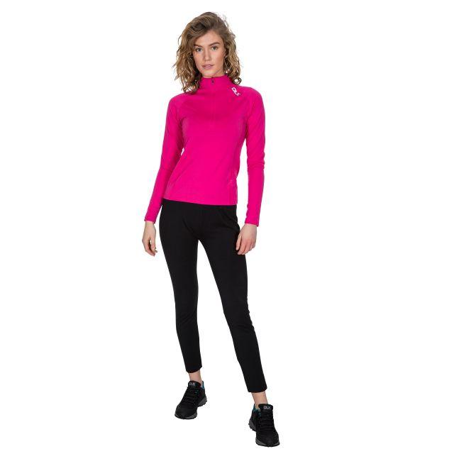 Odette Women's DLX 1/2 Zip Long Sleeve Active Top in Pink