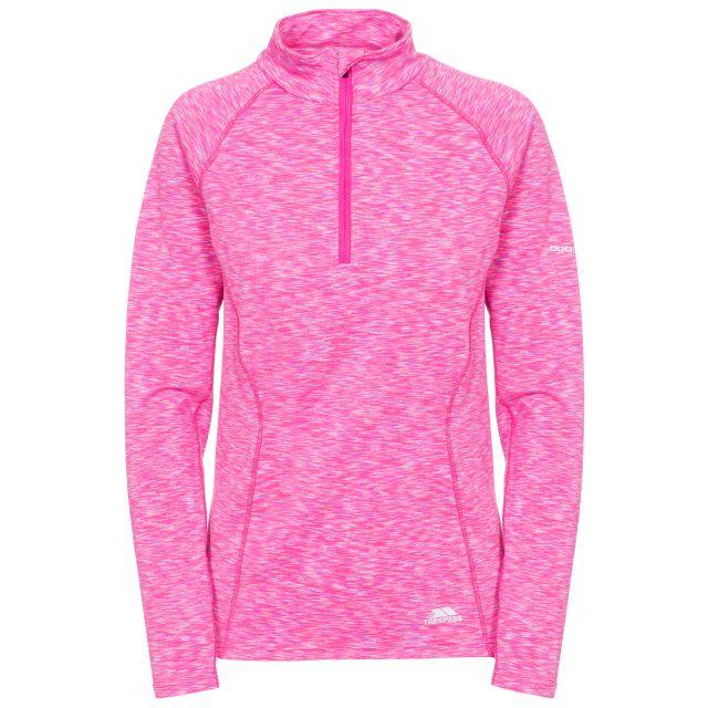 Olina Women's 1/2 Zip Long Sleeve Active Top in Pink