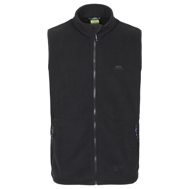 Othos II Men's Fleece Gilet Jacket in Black, Front view on mannequin