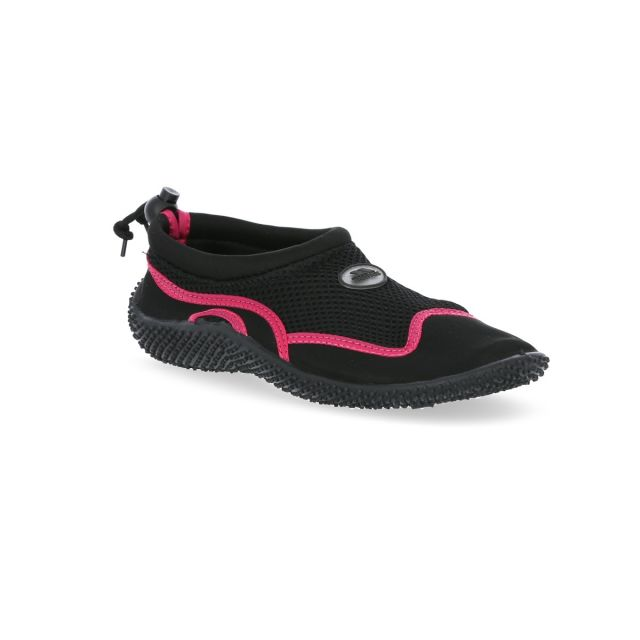 Paddle Adults' Aqua Shoes in Black, Angled view of footwear