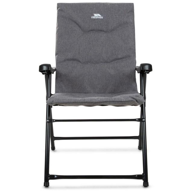 Trespass Folding Padded Camping & Garden Deck Chair Paddy in Grey Marl