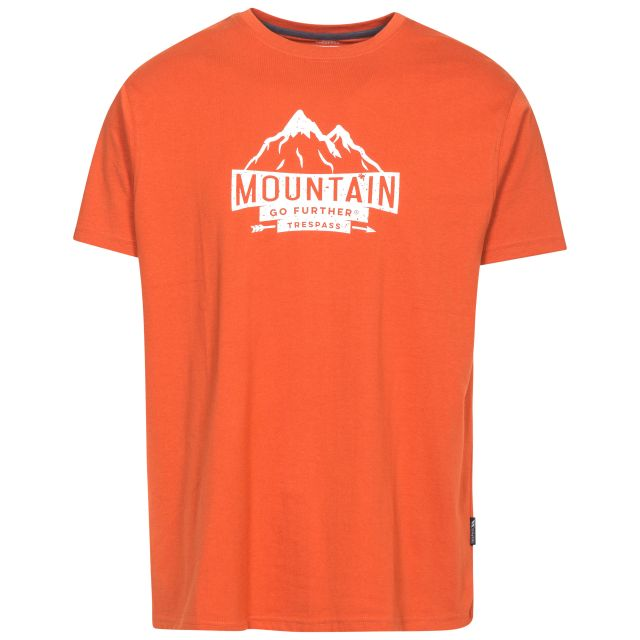 Peaked Men's Quick Dry Casual T-Shirt in Orange, Front view on mannequin