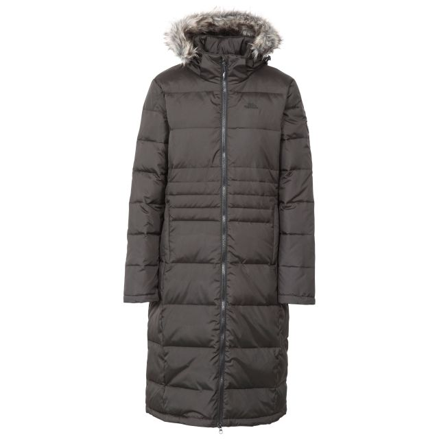 Trespass Womens Down Parka Jacket Long Phyllis in Black