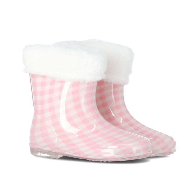 Pitter Babies Faux Fur Lined Wellies in Light Pink