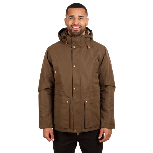 Trespass Men's Waterproof Padded Jacket Hood Puxtoncombe Green