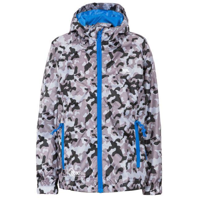 Trespass Kids Packaway Jacket Waterproof Camo Print Qikpac Grey, Front view on mannequin