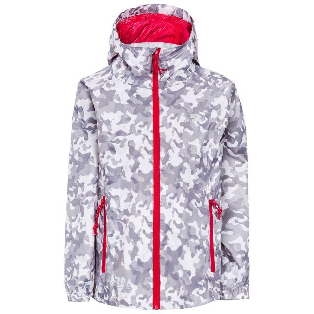 Trespass Kids Packaway Jacket Waterproof Camo Print Qikpac White, Front view on mannequin
