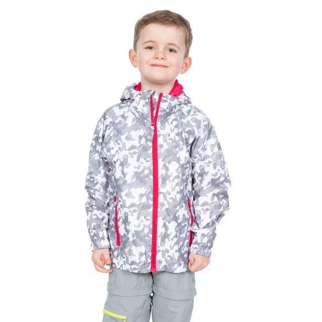Trespass Kids Packaway Jacket Waterproof Camo Print Qikpac White