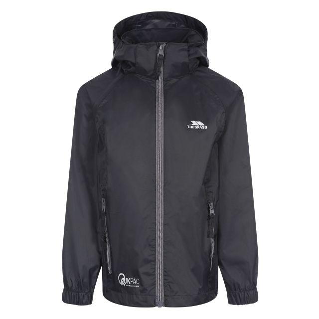 Qikpac X Kids' Waterproof Packaway Jacket in Black