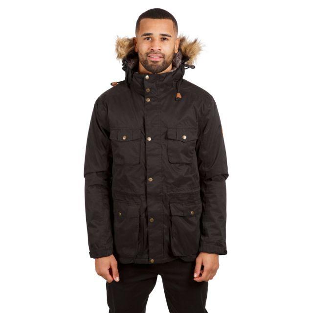 Quebeckford Men's Padded Waterproof Parka Jacket in Black