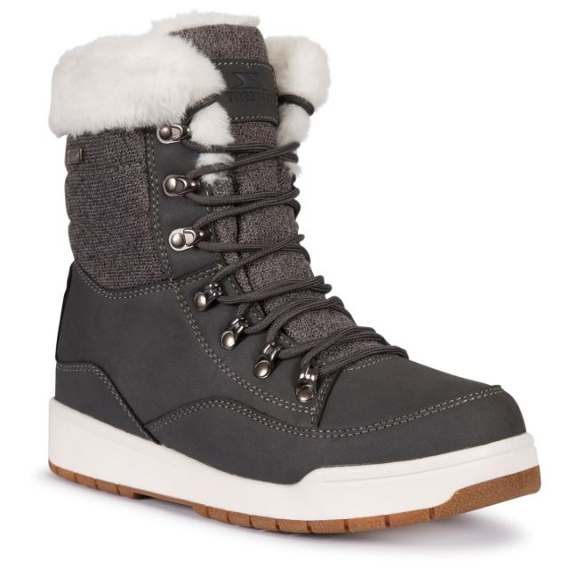 Trespass Womens Snow Boots Waterproof Fleece Lined Raegan Grey