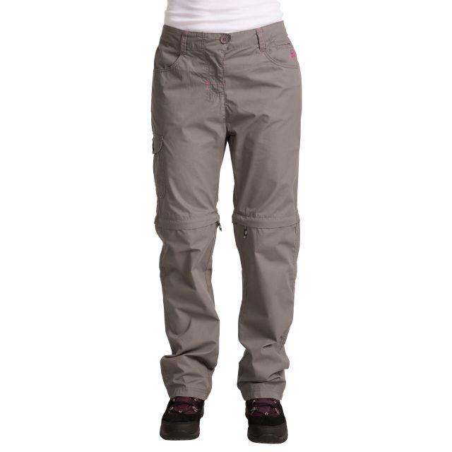 Rambler Women's Zip Off Cargo Trousers in Grey, Back view on model