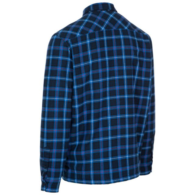 Rapeseed Men's Fleece Lined Checked Shirt in Dark Blue Check