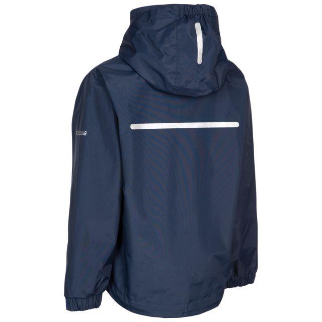 Trespass Kids Waterproof Detachable Hood Jacket in Blue Raymont