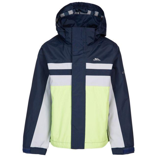Trespass Kids' Waterproof Detachable Hood Jacket Raymont - PEA, Front view on mannequin